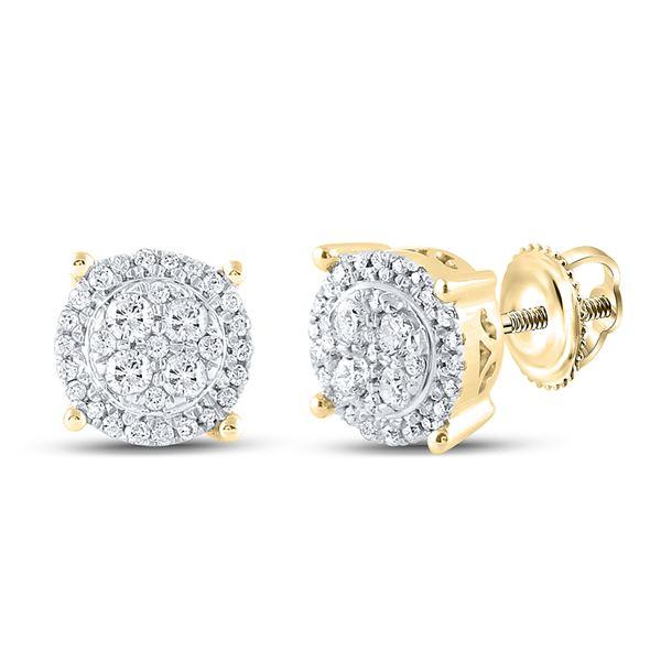 Diamond Cluster Earrings 1/4 Cttw 10kt Yellow Gold