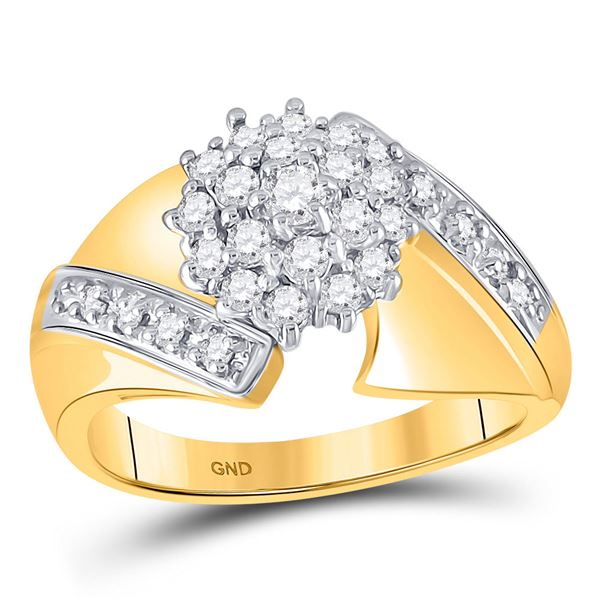 Diamond Flower Cluster Ring 1/2 Cttw 10kt Yellow Gold