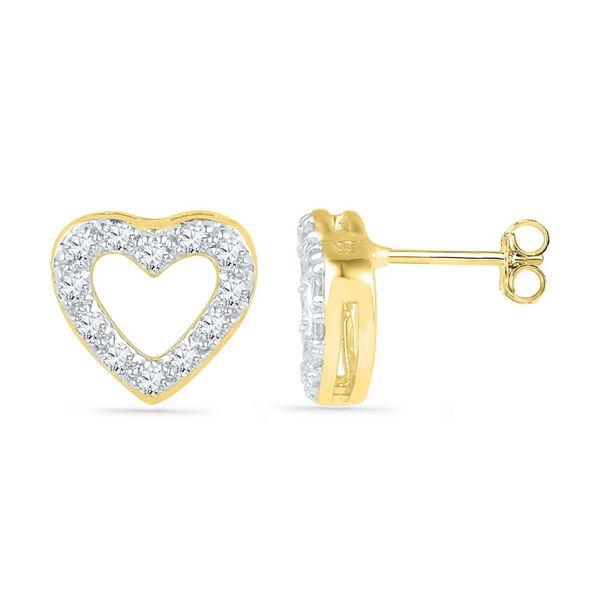 Diamond Heart Earrings 1/8 Cttw 10kt Yellow Gold