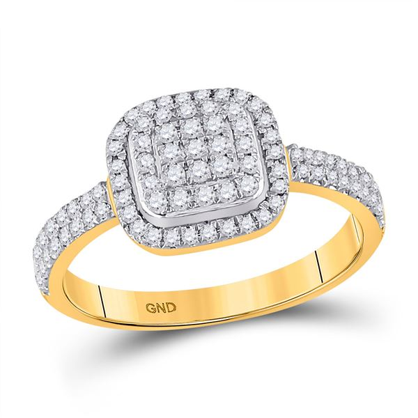 Diamond Square Cluster Ring 1/2 Cttw 10kt Yellow Gold