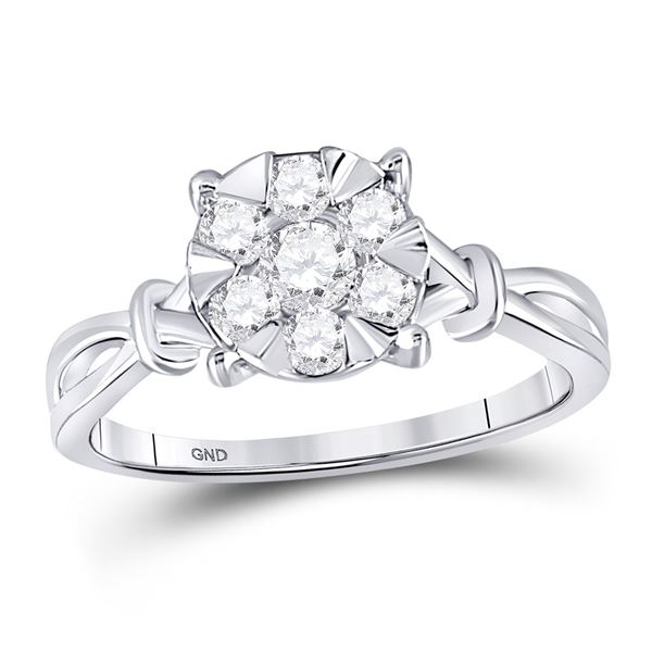 Diamond Twist Flower Cluster Ring 1/2 Cttw 10kt White Gold
