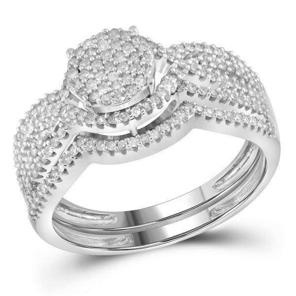 Diamond Cluster Bridal Wedding Ring Band Set 1/2 Cttw 10k White Gold