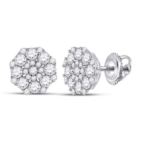 Diamond Cluster Earrings 1-1/4 Cttw 14kt White Gold