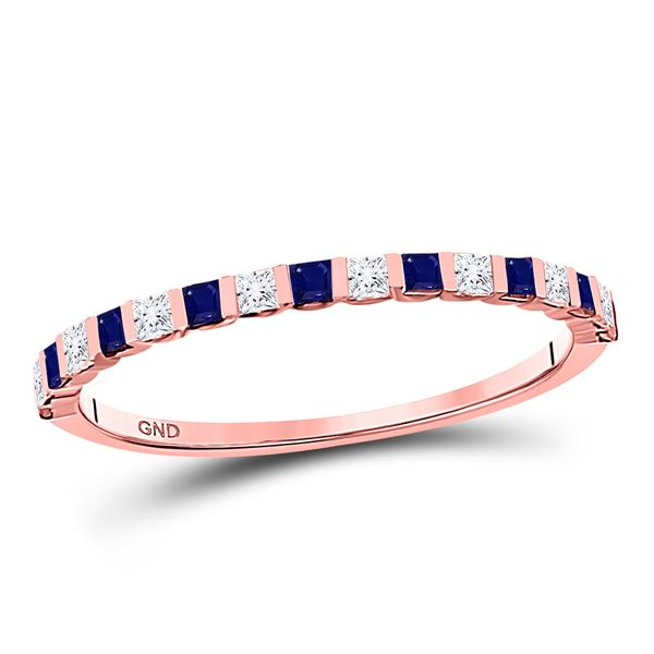 Princess Blue Sapphire Diamond Stackable Band Ring 3/8 Cttw 10kt Rose Gold