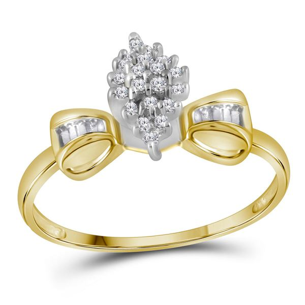 Prong-set Diamond Oval Cluster Baguette Ring 1/10 Cttw 10kt Yellow Gold