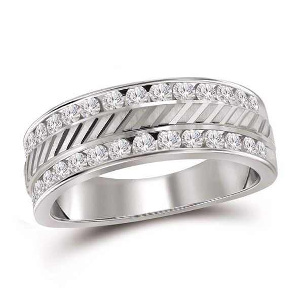Mens Channel-set Diamond Double Row Grecco Wedding Band Ring 1 Cttw 14kt White Gold