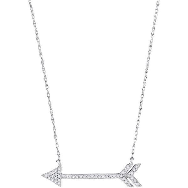Diamond Arrow Fashion Necklace 1/8 Cttw 10kt White Gold