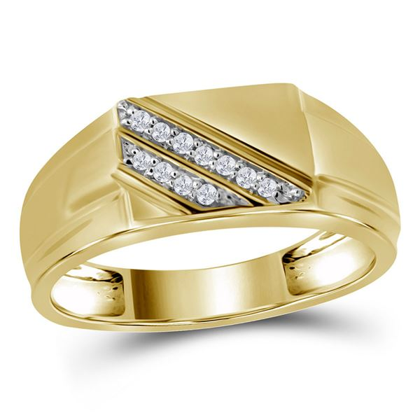 Mens Diamond Diagonal Row Flat Top Fashion Ring 1/12 Cttw 10kt Yellow Gold