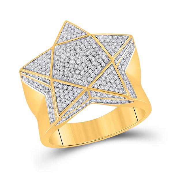 Mens Diamond Star Statement Ring 1 Cttw 10kt Yellow Gold
