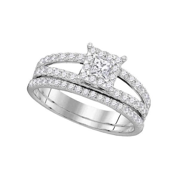 Diamond Princess Bridal Wedding Ring Band Set 1 Cttw 14kt White Gold