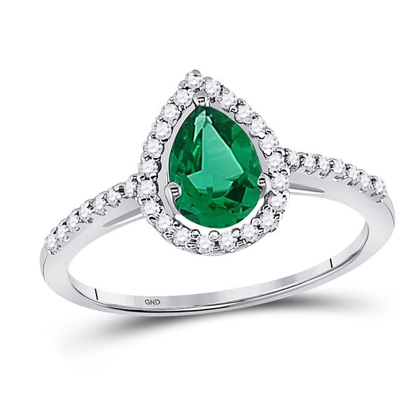 Pear Lab-Created Emerald Solitaire Ring 1 Cttw 10kt White Gold