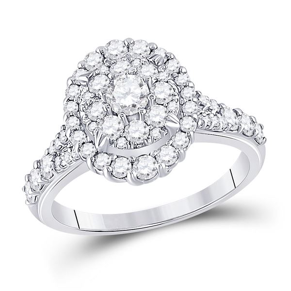 Diamond Oval Bridal Wedding Engagement Ring 1-1/5 Cttw 10kt White Gold