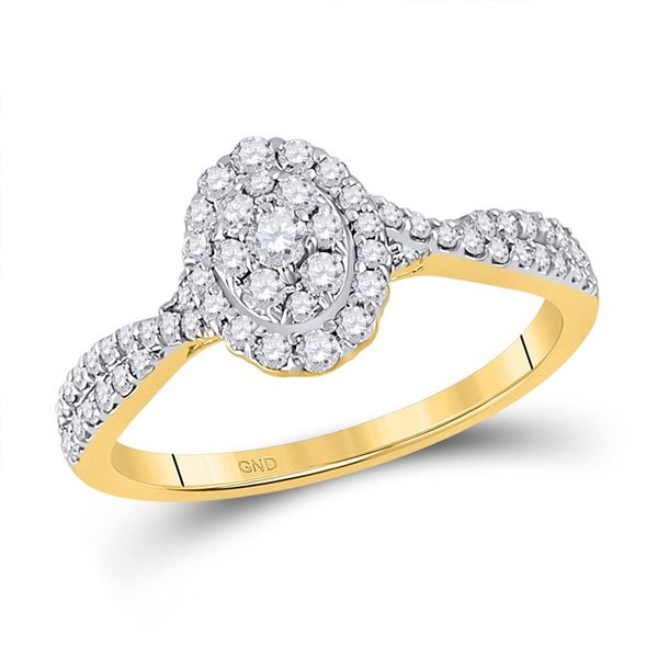 Diamond Oval Cluster Ring 1/2 Cttw 10kt Yellow Gold