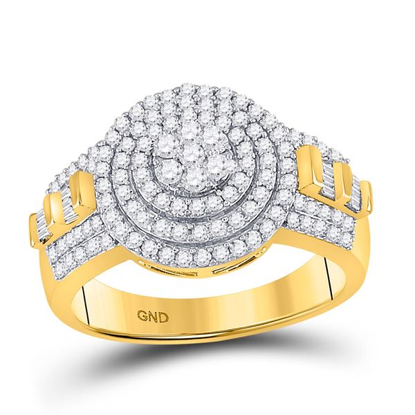 Mens Diamond Circle Flower Cluster Ring 1-1/5 Cttw 10kt Two-tone Gold