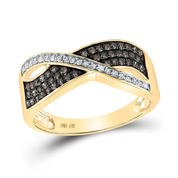 Brown Diamond Crossover Band Ring 1/3 Cttw 10kt Yellow Gold