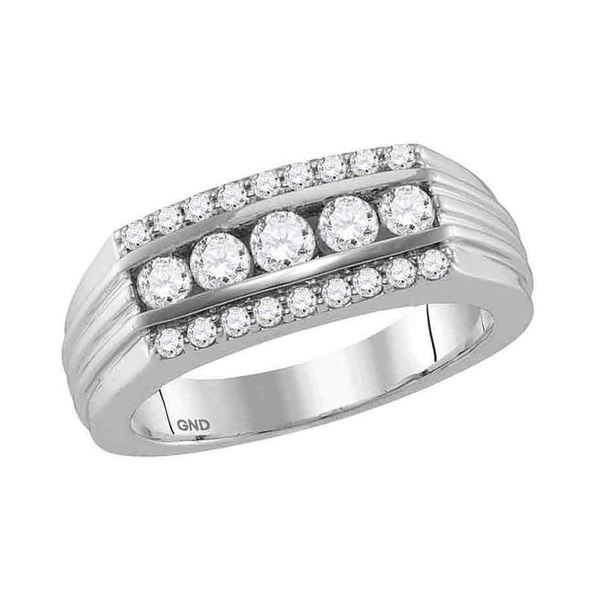 Mens Diamond 5-Stone Band Ring 1 Cttw 14kt White Gold
