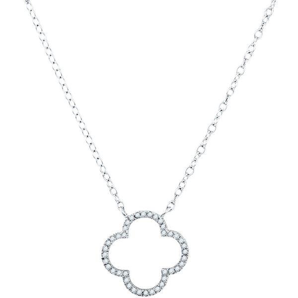 Diamond Clover Fashion Necklace 1/10 Cttw 10kt White Gold
