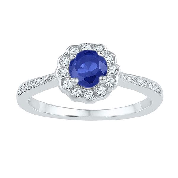 Lab-Created Blue Sapphire Ring 1 Cttw 10kt White Gold