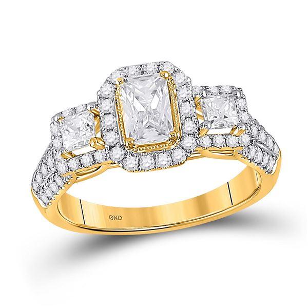 Emerald Diamond 3-stone Bridal Wedding Engagement Ring 1-1/2 Cttw 14kt Yellow Gold