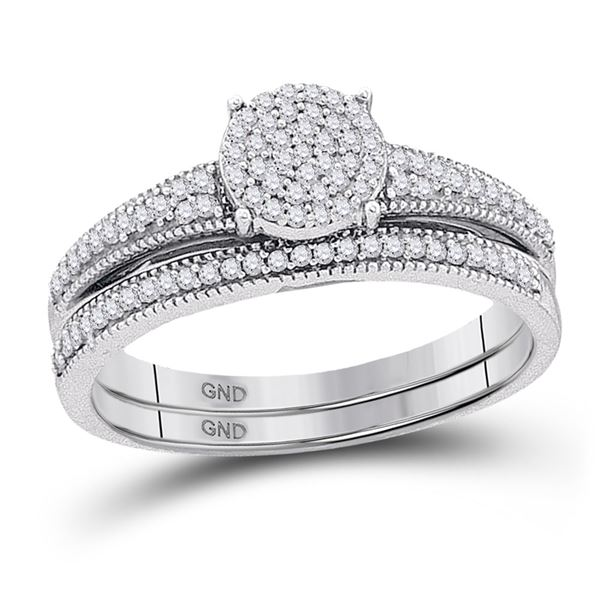 Diamond Cluster Bridal Wedding Ring Band Set 1/4 Cttw 10k White Gold