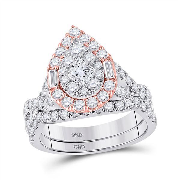 Princess Diamond Bridal Wedding Ring Band Set 2 Cttw 14kt Two-tone Gold