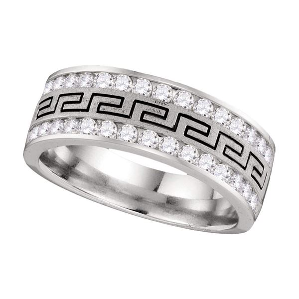 Mens Diamond Double Row Grecco Greek Key Wedding Band 1 Cttw 14kt White Gold