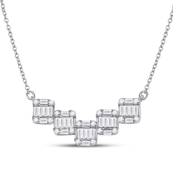 Baguette Diamond Square Pendant Necklace 1/2 Cttw 14kt White Gold