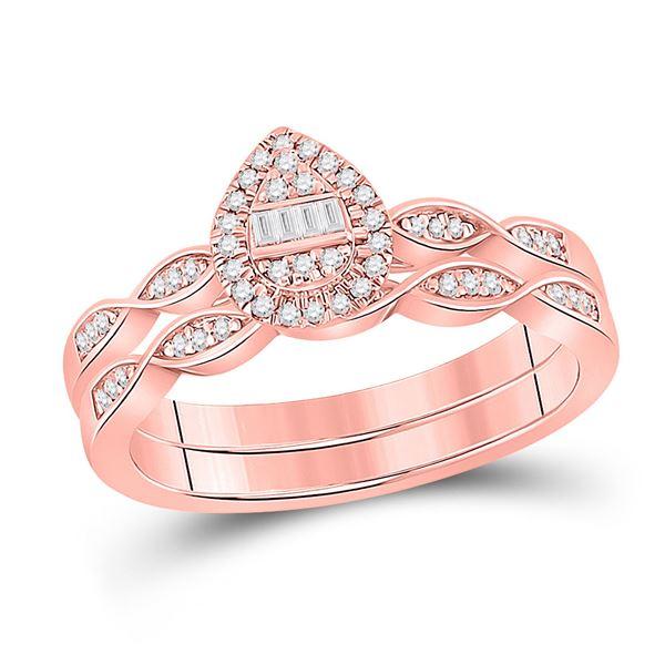Baguette Diamond Bridal Wedding Ring Band Set 1/5 Cttw 10kt Rose Gold