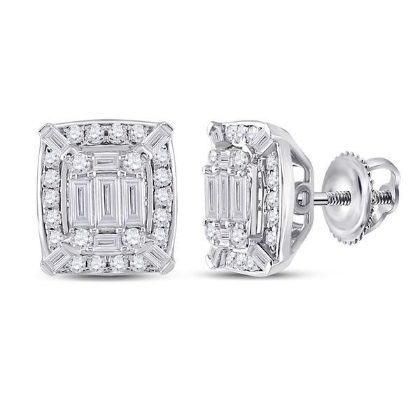 Baguette Diamond Cluster Earrings 1/2 Cttw 14kt White Gold