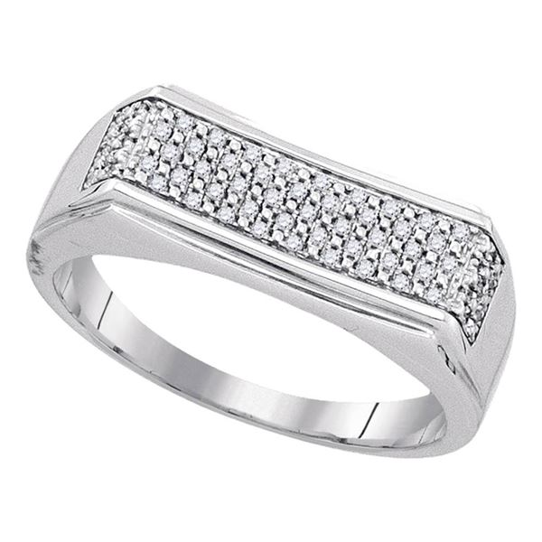 Sterling Silver Mens Diamond Rectangle Band Ring 1/6 Cttw Sterling Silver