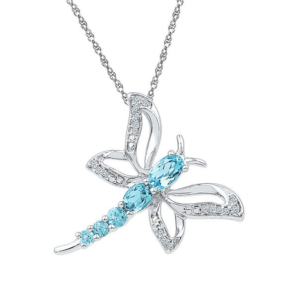 Lab-Created Blue Topaz Dragonfly Bug Pendant 1 Cttw Sterling Silver