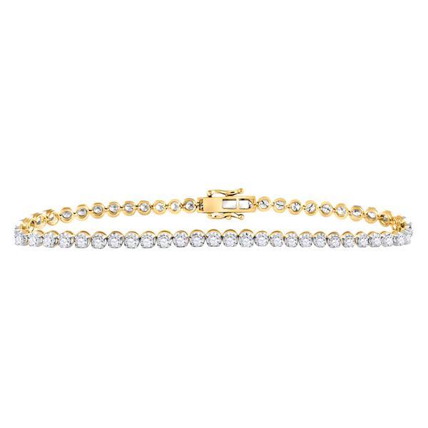 Mens Diamond Studded Tennis Bracelet 8 Cttw 10kt Yellow Gold
