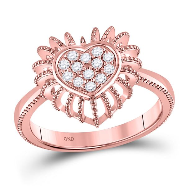 Diamond Heart Ring 1/8 Cttw 10kt Rose Gold