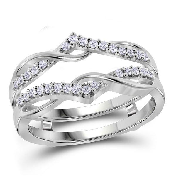 Diamond Solitaire Enhancer Wedding Band 1/4 Cttw 10kt White Gold