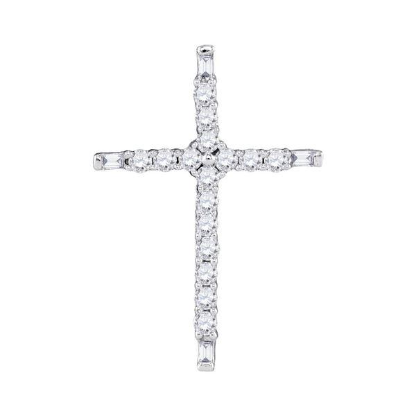 Diamond Cross Religious Pendant 1/5 Cttw 10kt White Gold