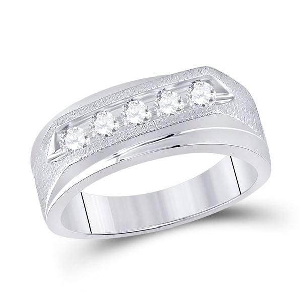 Mens Diamond 5-stone Wedding Ring 5/8 Cttw 14kt White Gold