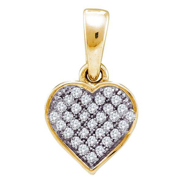 Diamond Small Dainty Heart Pendant 1/10 Cttw 10kt Yellow Gold