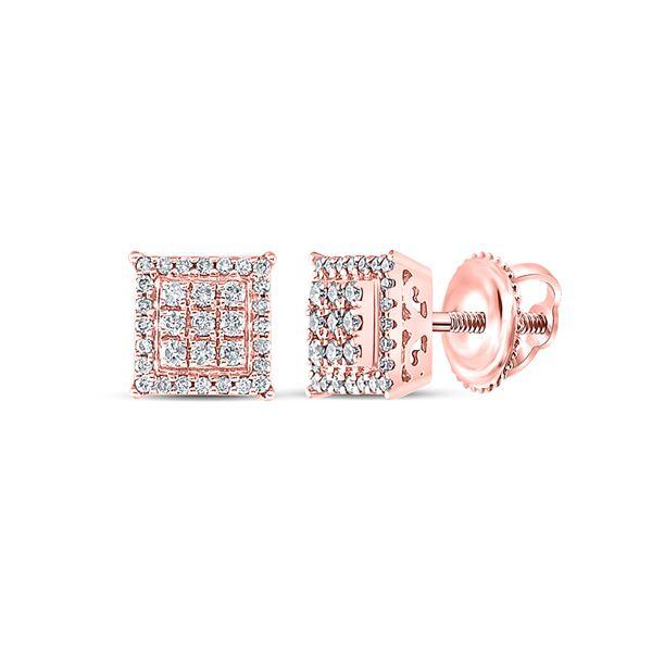 Diamond Square Cluster Earrings 1/4 Cttw 14kt Rose Gold