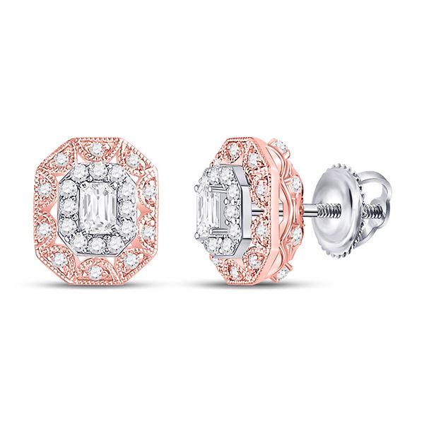 Emerald Diamond Fashion Halo Earrings 1/2 Cttw 14kt Two-tone Gold