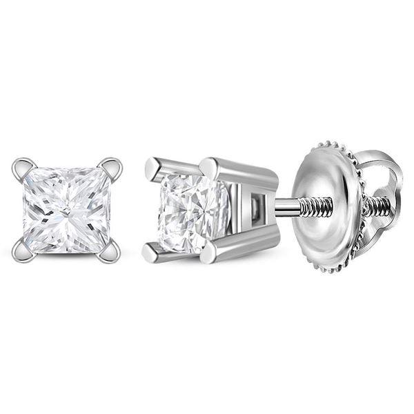Unisex Princess Diamond Solitaire Stud Earrings 1/5 Cttw 14kt White Gold