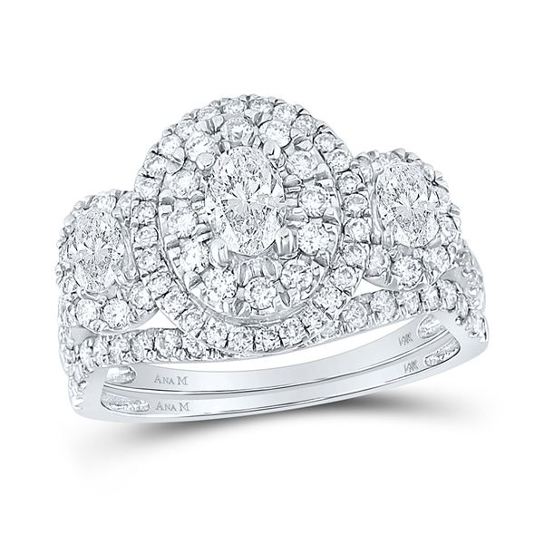 Oval Diamond Bridal Wedding Ring Band Set 1-1/2 Cttw 14kt White Gold