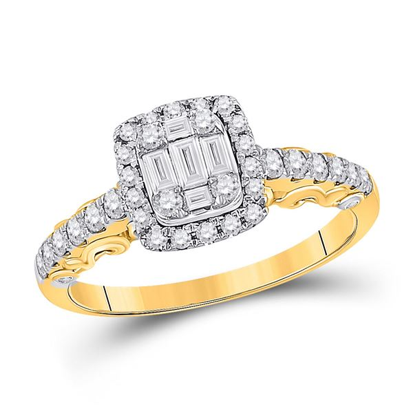 Baguette Diamond Square Cluster Ring 5/8 Cttw 14kt Yellow Gold