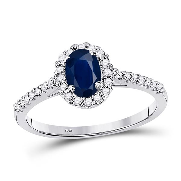 Oval Lab-Created Blue Sapphire Solitaire Ring 3/4 Cttw 10kt White Gold