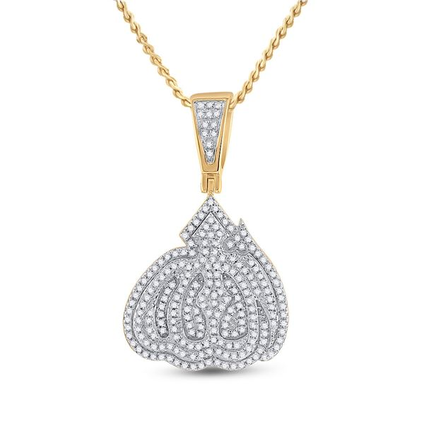 Mens Diamond Allah Islam Charm Pendant 5/8 Cttw 14kt Yellow Gold