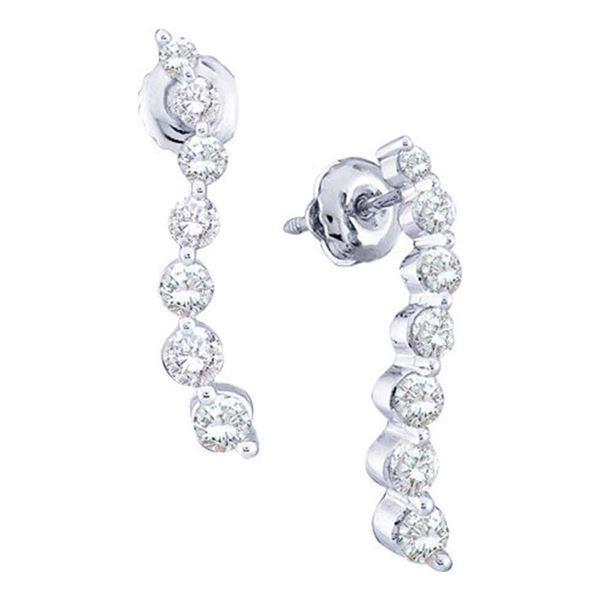 Diamond Graduated Journey Stud Earrings 1 Cttw 14kt White Gold