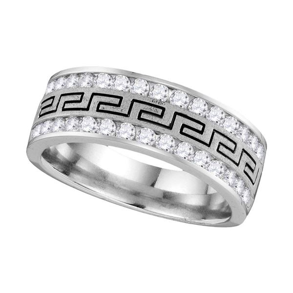 Mens Diamond Grecco Wedding Anniversary Band 3/4 Cttw 14k White Gold