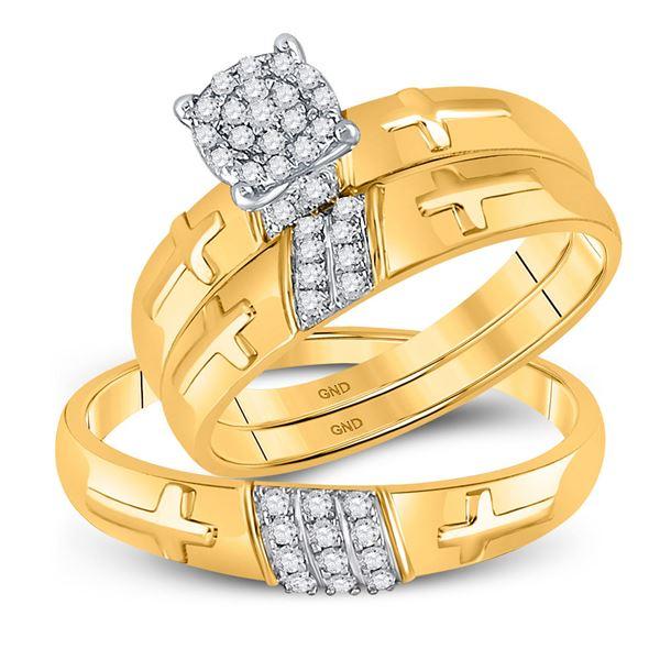 His Hers Diamond Cross Matching Wedding Set 1/4 Cttw 10kt Yellow Gold