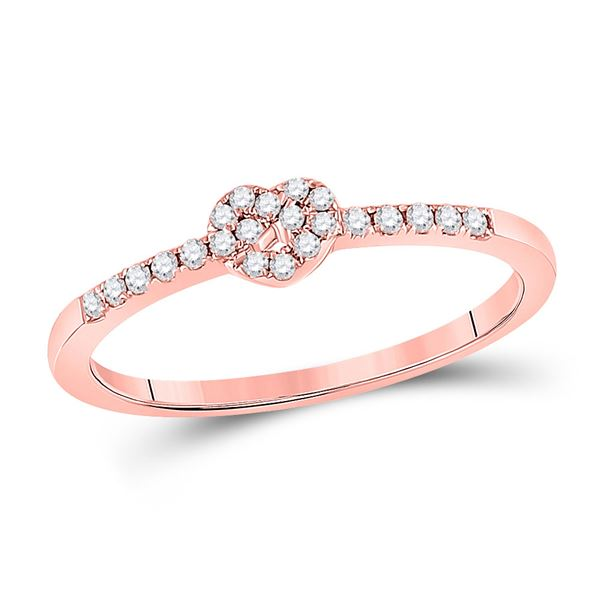 Diamond Heart Knot Stackable Band Ring 1/8 Cttw 10kt Rose Gold