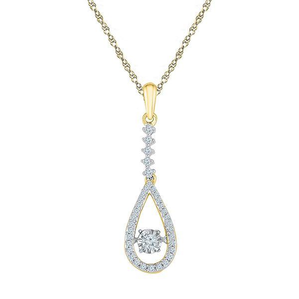 Moving Twinkle Diamond Teardrop Pendant 1/5 Cttw 10kt Yellow Gold