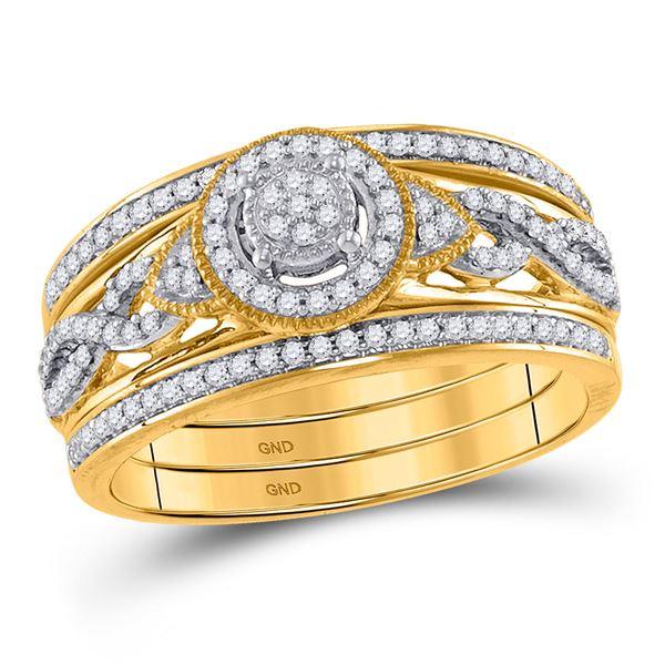 Diamond 3-Piece Bridal Wedding Ring Band Set 1/3 Cttw 10kt Yellow Gold